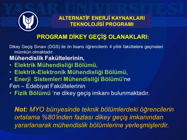 PROGRAM DİKEY GEÇİŞ OLANAKLARI: Dikey Geçiş Sınavı (DGS) ile ön lisans öğrencilerin 4 yıllık fakültelere geçmeleri mümkün olmaktadır. Mühendislik Fakü