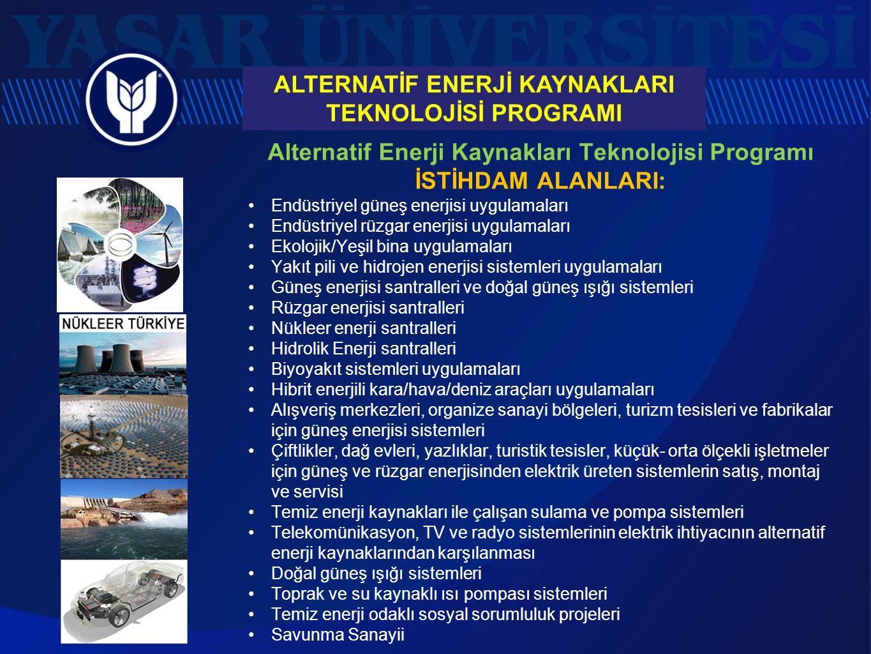 Alternatif Enerji Kaynakları Teknolojisi Programı İSTİHDAM ALANLARI: Endüstriyel güneş enerjisi uygulamaları Endüstriyel rüzgar enerjisi uygulamaları