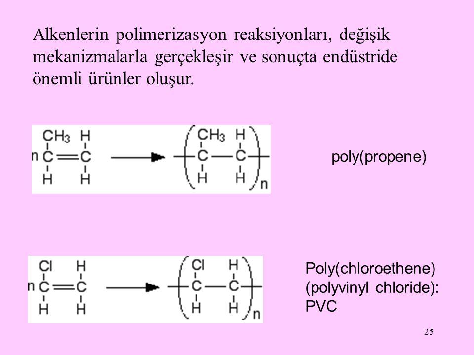 25 Alkenlerin polimerizasyon reaksiyonları, değişik mekanizmalarla gerçekleşir ve sonuçta endüstride önemli ürünler oluşur. poly(propene) Poly(chloroe