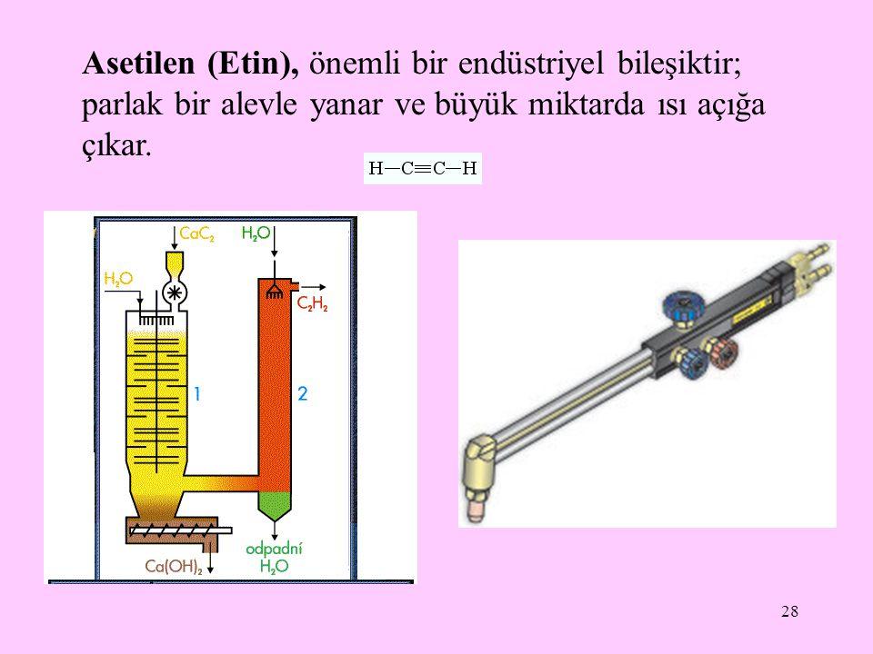28 Asetilen (Etin), önemli bir endüstriyel bileşiktir; parlak bir alevle yanar ve büyük miktarda ısı açığa çıkar.