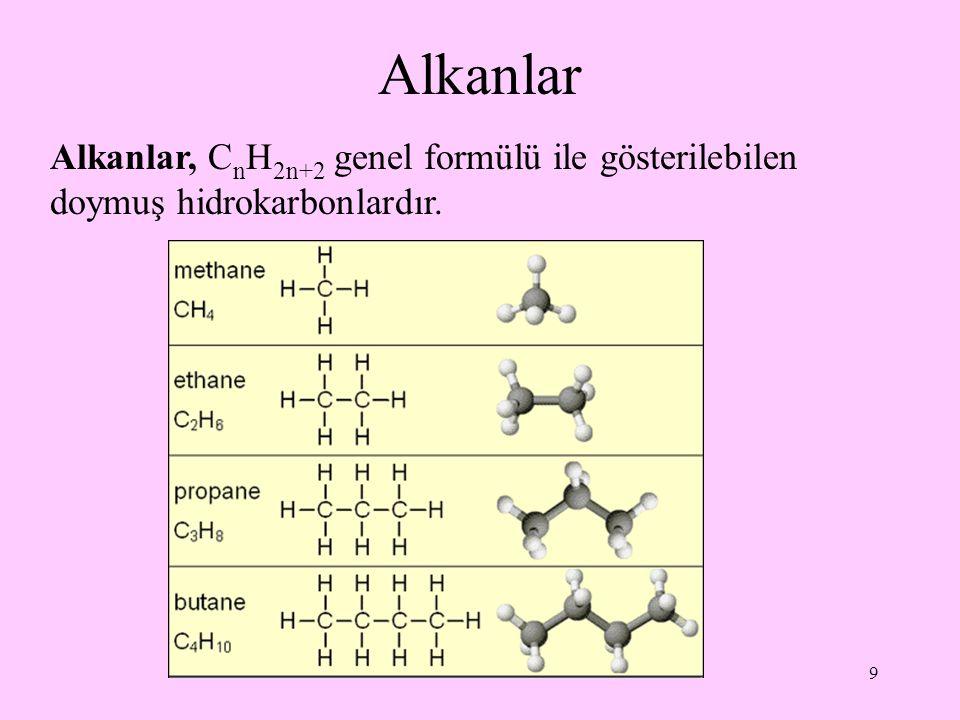 9 Alkanlar Alkanlar, C n H 2n+2 genel formülü ile gösterilebilen doymuş hidrokarbonlardır.