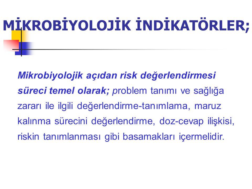 MİKROBİYOLOJİK İNDİKATÖRLER; Mikrobiyolojik açıdan risk değerlendirmesi süreci temel olarak; problem tanımı ve sağlığa zararı ile ilgili değerlendirme