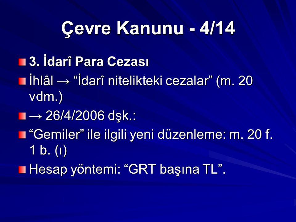 Çevre Kanunu - 5/14 GRT başına hesap: → Stena Convoy (2000) / Volgoneft 247 (1999) çelişkisi İcra: 30/3/2005 tarihli ve 5326 sayılı Kabahatler Kanunu (ÇevK m.