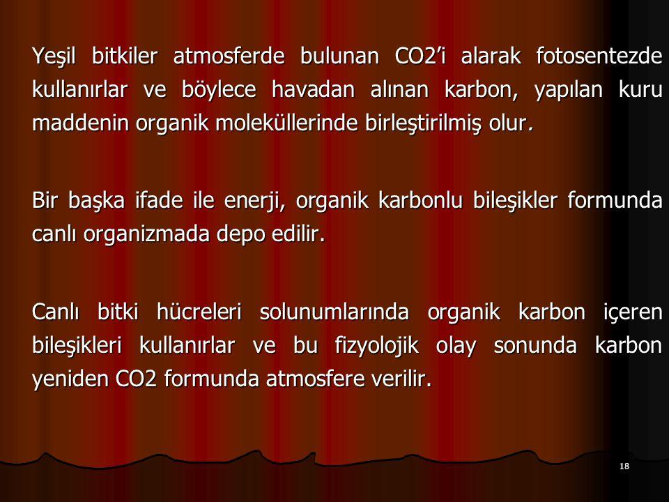 18 Yeşil bitkiler atmosferde bulunan CO2'i alarak fotosentezde kullanırlar ve böylece havadan alınan karbon, yapılan kuru maddenin organik moleküllerinde birleştirilmiş olur.
