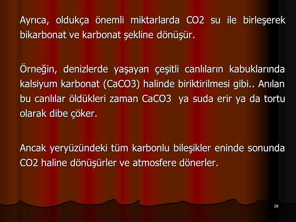20 Ayrıca, oldukça önemli miktarlarda CO2 su ile birleşerek bikarbonat ve karbonat şekline dönüşür.