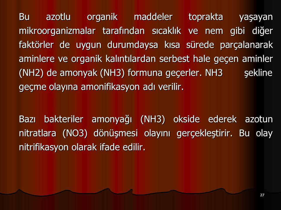 27 Bu azotlu organik maddeler toprakta yaşayan mikroorganizmalar tarafından sıcaklık ve nem gibi diğer faktörler de uygun durumdaysa kısa sürede parçalanarak aminlere ve organik kalıntılardan serbest hale geçen aminler (NH2) de amonyak (NH3) formuna geçerler.