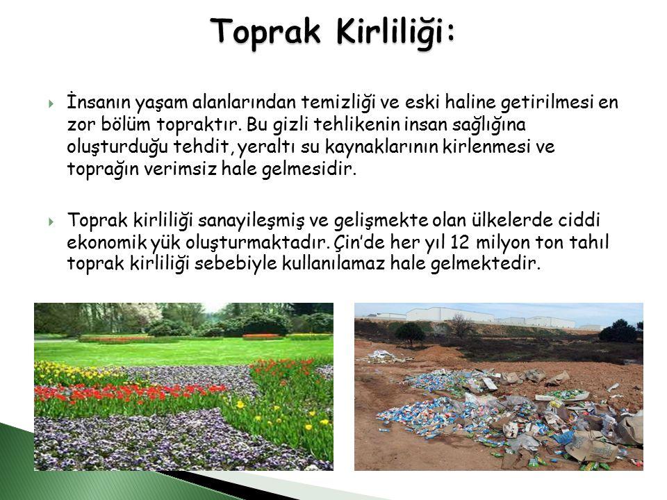  İnsanın yaşam alanlarından temizliği ve eski haline getirilmesi en zor bölüm topraktır.