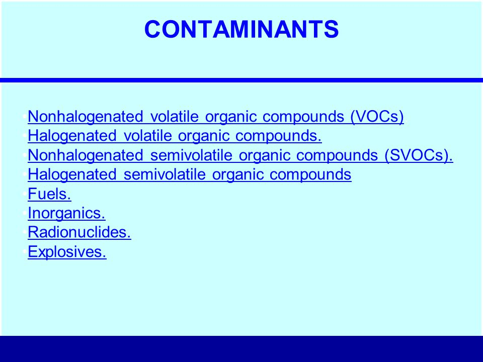 CONTAMINANTS Nonhalogenated volatile organic compounds (VOCs).Nonhalogenated volatile organic compounds (VOCs) Halogenated volatile organic compounds.