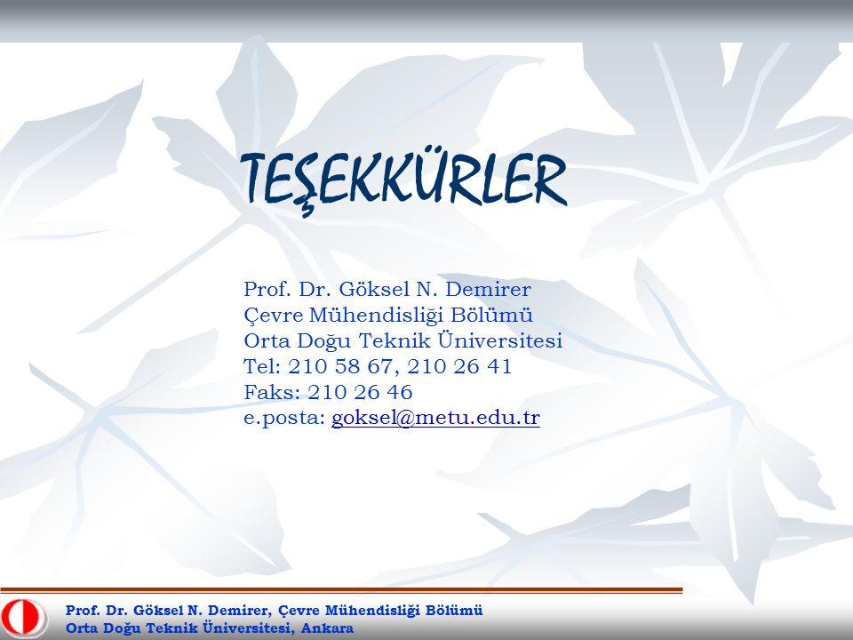 Prof. Dr. Göksel N. Demirer, Çevre Mühendisliği Bölümü Orta Doğu Teknik Üniversitesi, Ankara TEŞEKKÜRLER Prof. Dr. Göksel N. Demirer Çevre Mühendisliğ