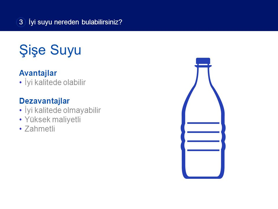Avantajlar İyi kalitede olabilir Dezavantajlar İyi kalitede olmayabilir Yüksek maliyetli Zahmetli 3 İyi suyu nereden bulabilirsiniz.