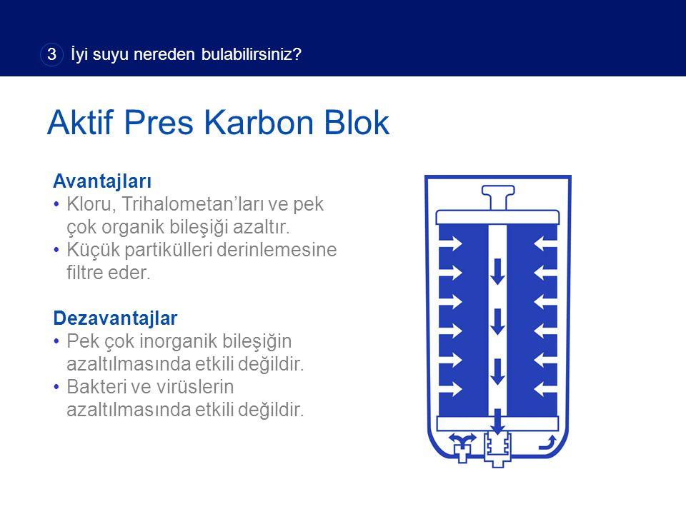 Avantajları Kloru, Trihalometan'ları ve pek çok organik bileşiği azaltır. Küçük partikülleri derinlemesine filtre eder. Dezavantajlar Pek çok inorgani