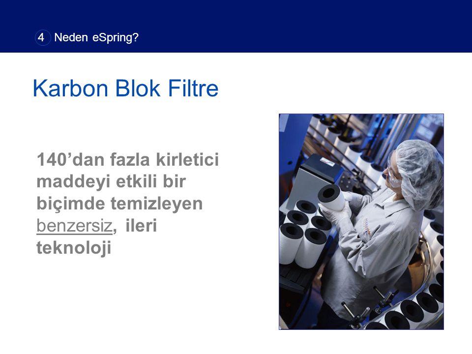 140'dan fazla kirletici maddeyi etkili bir biçimde temizleyen benzersiz, ileri teknoloji Karbon Blok Filtre 4 Neden eSpring?