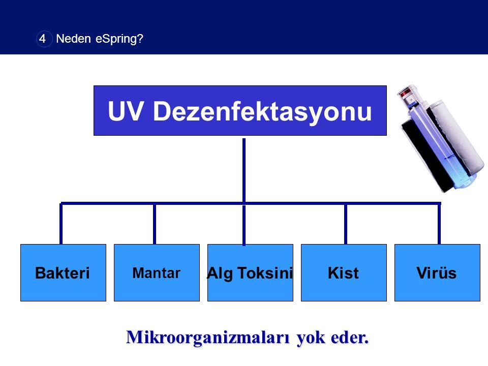 UV Dezenfektasyonu Bakteri Mantar Alg ToksiniKistVirüs Mikroorganizmaları yok eder. 4 Neden eSpring?