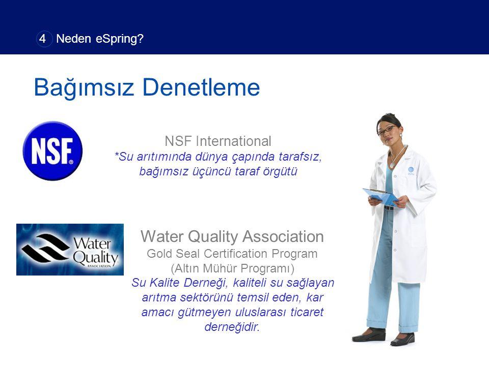 Bağımsız Denetleme Water Quality Association Gold Seal Certification Program (Altın Mühür Programı) Su Kalite Derneği, kaliteli su sağlayan arıtma sek