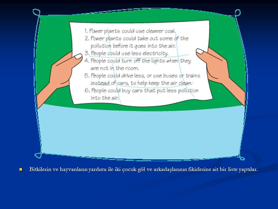 Bitkilerin ve hayvanların yardımı ile iki çocuk göl ve arkadaşlarının fikirlerine ait bir liste yaptılar. Bitkilerin ve hayvanların yardımı ile iki ço