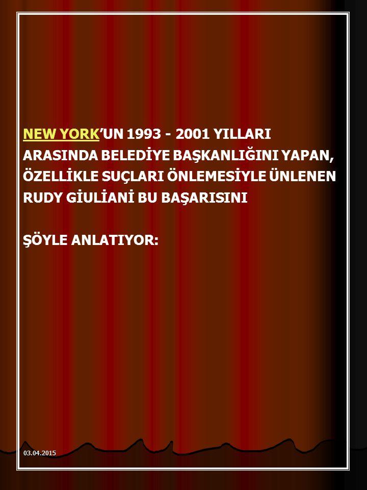 NEW YORKNEW YORK'UN 1993 - 2001 YILLARI ARASINDA BELEDİYE BAŞKANLIĞINI YAPAN, ÖZELLİKLE SUÇLARI ÖNLEMESİYLE ÜNLENEN RUDY GİULİANİ BU BAŞARISINI ŞÖYLE ANLATIYOR: