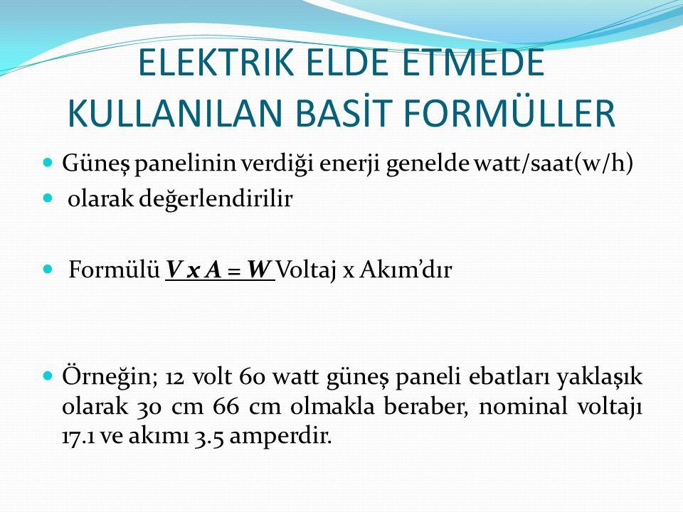 ELEKTRIK ELDE ETMEDE KULLANILAN BASİT FORMÜLLER Güneş panelinin verdiği enerji genelde watt/saat(w/h) olarak değerlendirilir Formülü V x A = W Voltaj