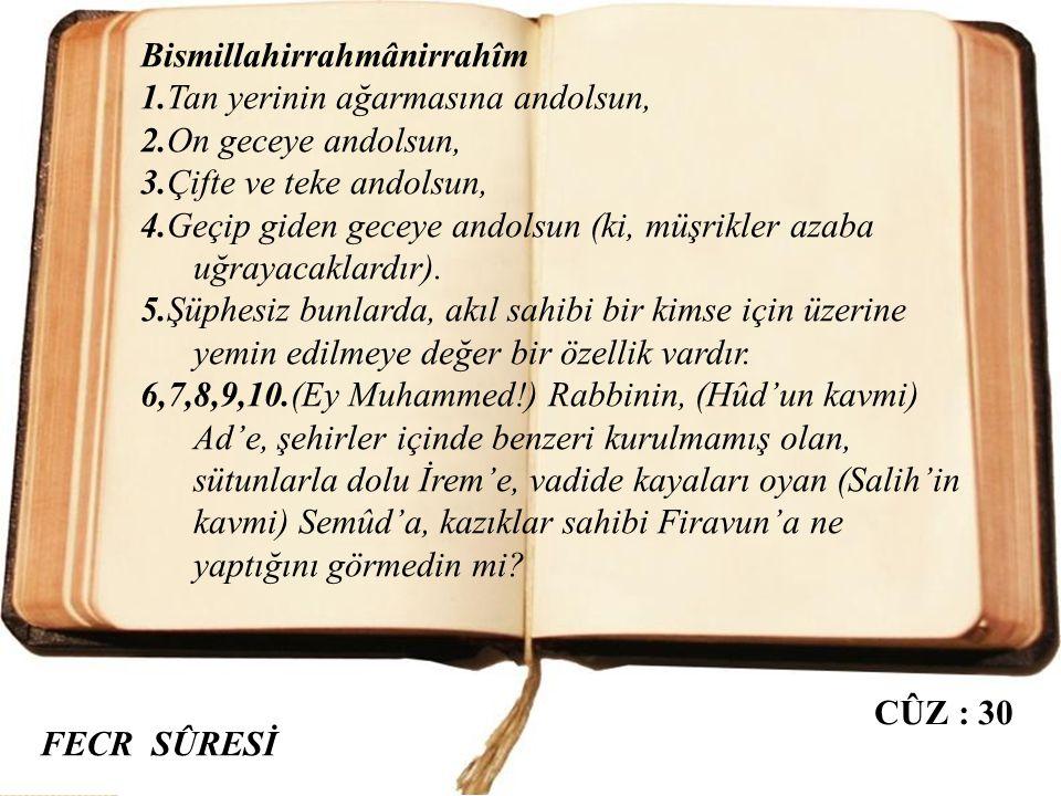 """FECR SÛRESİ Mekke döneminde inmiştir. 30 âyettir. Sûre, adını birinci âyetteki """"el-Fecr"""" kelimesinden almıştır. Fecr, tan yerinin ağarması vakti demek"""