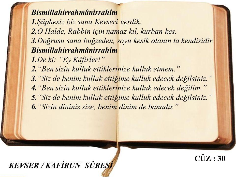 Bismillahirrahmânirrahîm 1,2,3,4. Kureyş'i ısındırıp alıştırdığı; onları kışın (Yemen'e) ve yazın (Şam'a) yaptıkları yolculuğa ısındırıp alıştırdığı i
