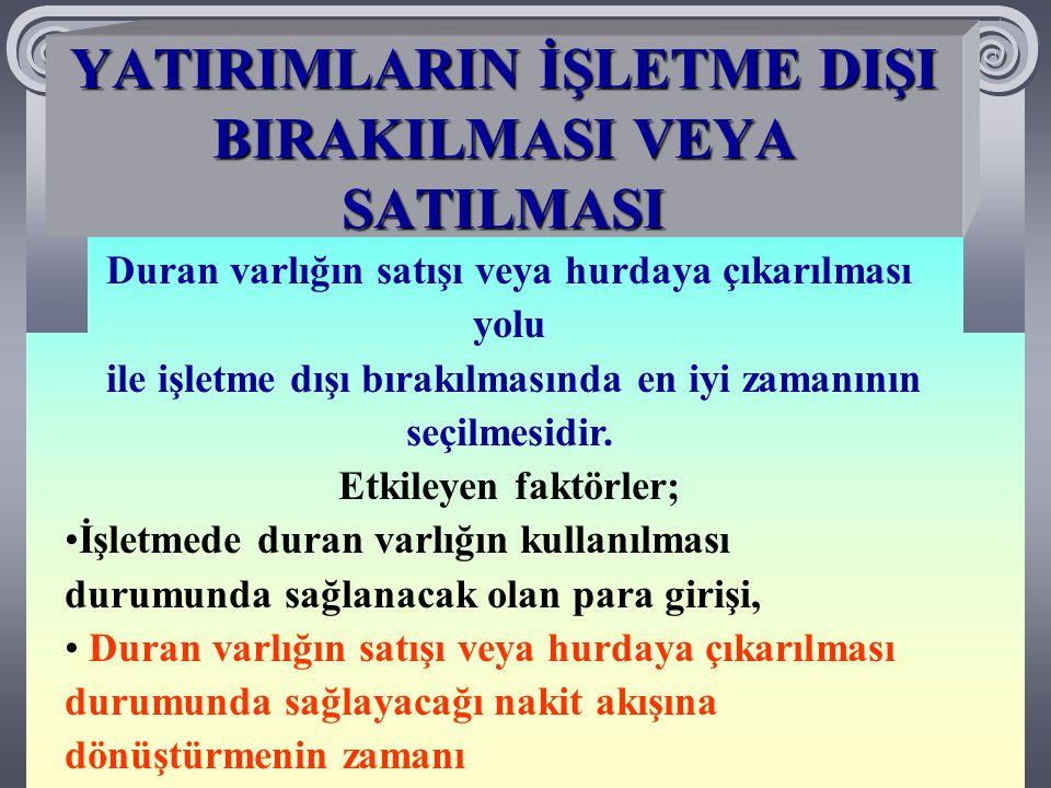 YATIRIMLARIN İŞLETME DIŞI BIRAKILMASININ ETKİLERİ 1.