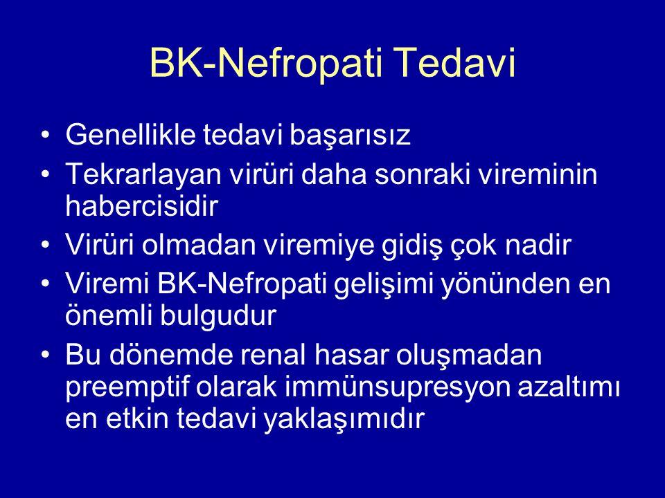 BK-Nefropati Tedavi Genellikle tedavi başarısız Tekrarlayan virüri daha sonraki vireminin habercisidir Virüri olmadan viremiye gidiş çok nadir Viremi BK-Nefropati gelişimi yönünden en önemli bulgudur Bu dönemde renal hasar oluşmadan preemptif olarak immünsupresyon azaltımı en etkin tedavi yaklaşımıdır