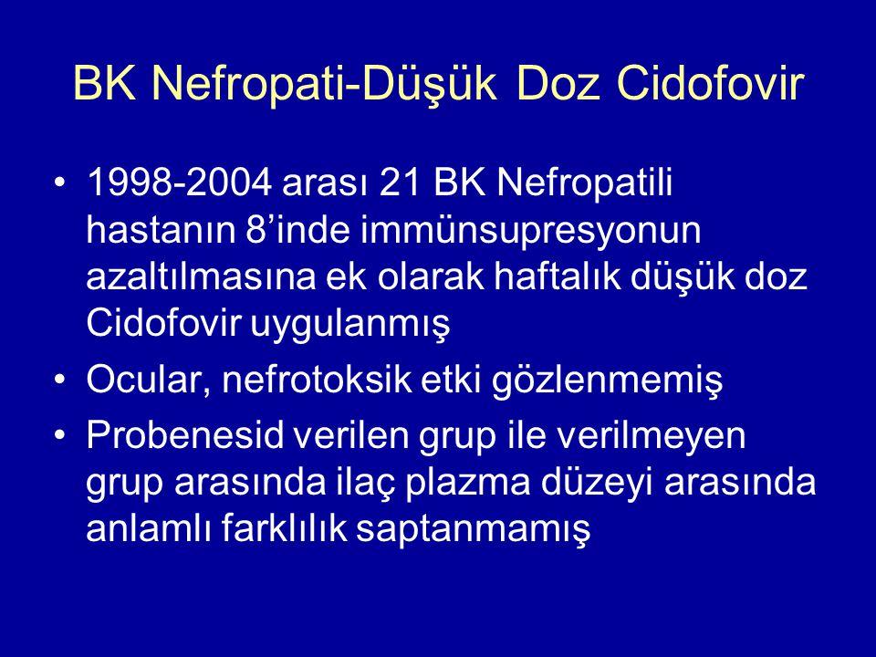 BK Nefropati-Düşük Doz Cidofovir 1998-2004 arası 21 BK Nefropatili hastanın 8'inde immünsupresyonun azaltılmasına ek olarak haftalık düşük doz Cidofovir uygulanmış Ocular, nefrotoksik etki gözlenmemiş Probenesid verilen grup ile verilmeyen grup arasında ilaç plazma düzeyi arasında anlamlı farklılık saptanmamış
