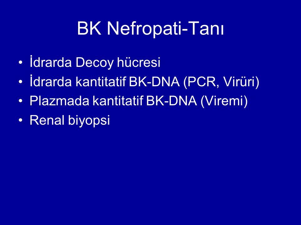 BK Nefropati-Tanı İdrarda Decoy hücresi İdrarda kantitatif BK-DNA (PCR, Virüri) Plazmada kantitatif BK-DNA (Viremi) Renal biyopsi