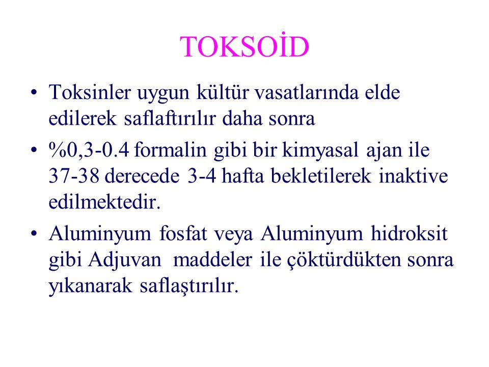 TOKSOİD Toksinler uygun kültür vasatlarında elde edilerek saflaftırılır daha sonra %0,3-0.4 formalin gibi bir kimyasal ajan ile 37-38 derecede 3-4 hafta bekletilerek inaktive edilmektedir.
