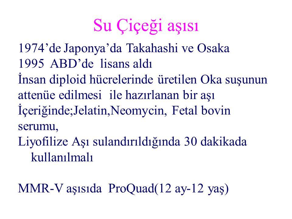 Su Çiçeği aşısı 1974'de Japonya'da Takahashi ve Osaka 1995 ABD'de lisans aldı İnsan diploid hücrelerinde üretilen Oka suşunun attenüe edilmesi ile hazırlanan bir aşı İçeriğinde;Jelatin,Neomycin, Fetal bovin serumu, Liyofilize Aşı sulandırıldığında 30 dakikada kullanılmalı MMR-V aşısıda ProQuad(12 ay-12 yaş)