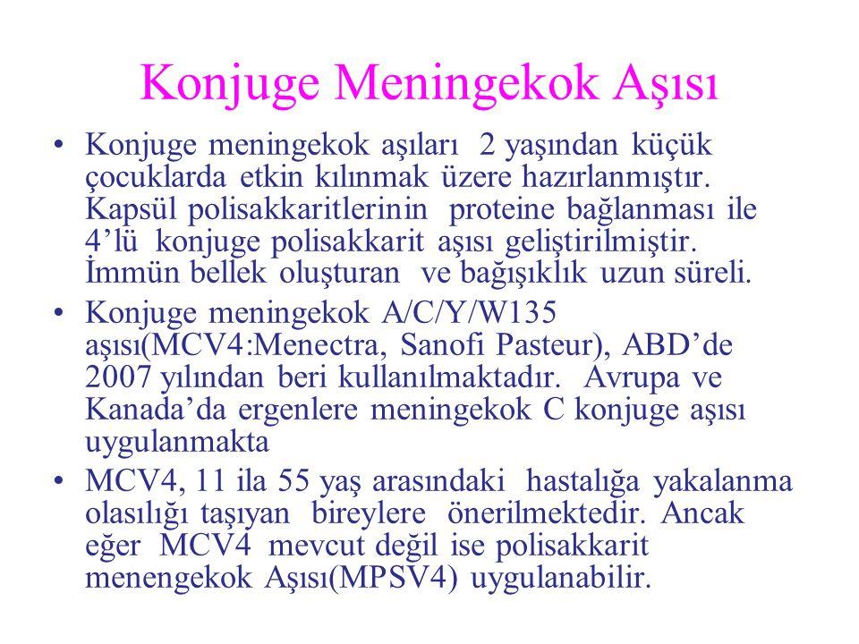 Konjuge Meningekok Aşısı Konjuge meningekok aşıları 2 yaşından küçük çocuklarda etkin kılınmak üzere hazırlanmıştır. Kapsül polisakkaritlerinin protei