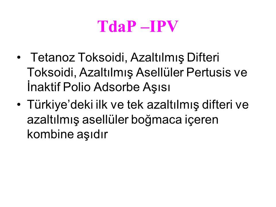 TdaP –IPV Tetanoz Toksoidi, Azaltılmış Difteri Toksoidi, Azaltılmış Asellüler Pertusis ve İnaktif Polio Adsorbe Aşısı Türkiye'deki ilk ve tek azaltılmış difteri ve azaltılmış asellüler boğmaca içeren kombine aşıdır