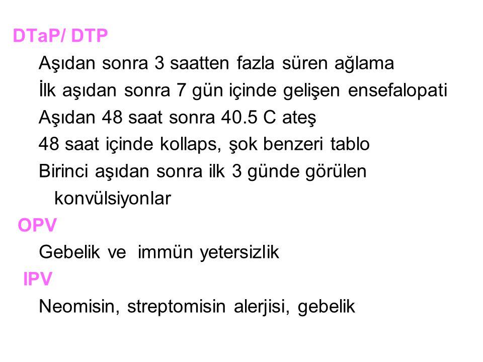 DTaP/ DTP Aşıdan sonra 3 saatten fazla süren ağlama İlk aşıdan sonra 7 gün içinde gelişen ensefalopati Aşıdan 48 saat sonra 40.5 C ateş 48 saat içinde