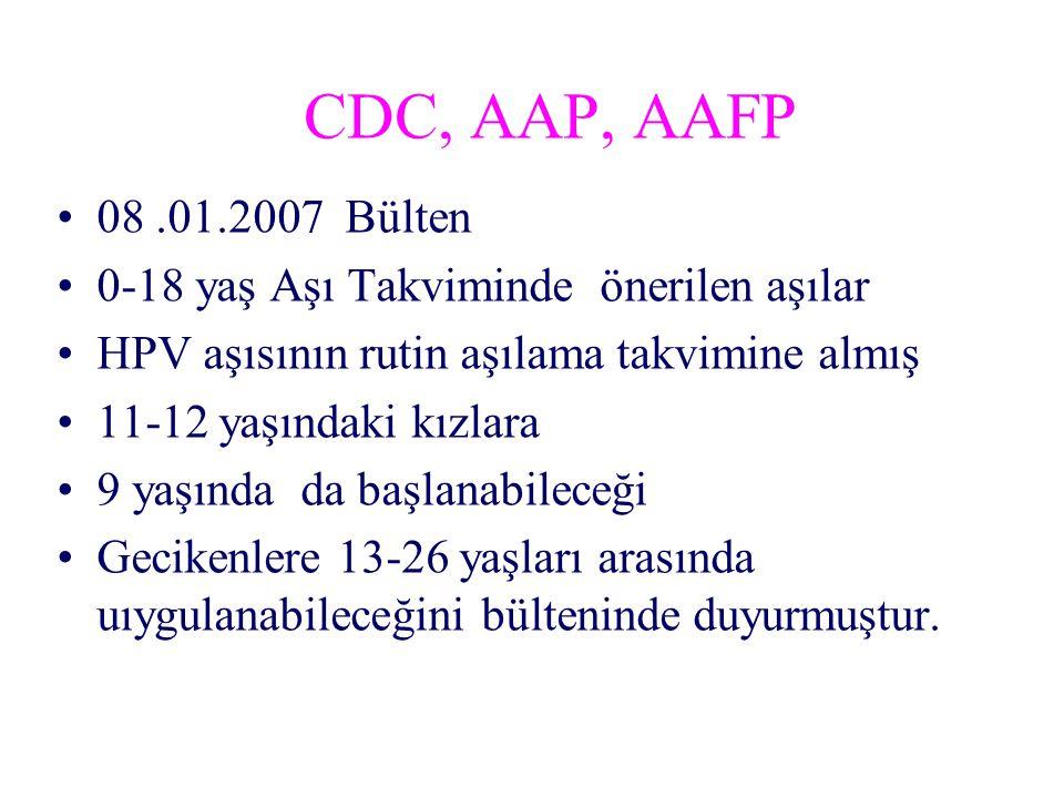 CDC, AAP, AAFP 08.01.2007 Bülten 0-18 yaş Aşı Takviminde önerilen aşılar HPV aşısının rutin aşılama takvimine almış 11-12 yaşındaki kızlara 9 yaşında da başlanabileceği Gecikenlere 13-26 yaşları arasında uıygulanabileceğini bülteninde duyurmuştur.