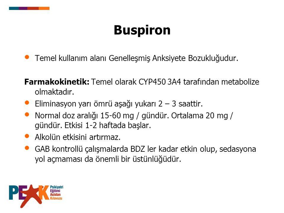 Buspiron Temel kullanım alanı Genelleşmiş Anksiyete Bozukluğudur. Farmakokinetik: Temel olarak CYP450 3A4 tarafından metabolize olmaktadır. Eliminasyo