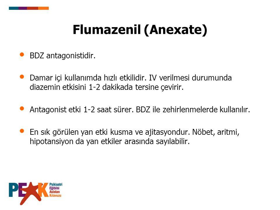 Flumazenil (Anexate) BDZ antagonistidir. Damar içi kullanımda hızlı etkilidir. IV verilmesi durumunda diazemin etkisini 1-2 dakikada tersine çevirir.