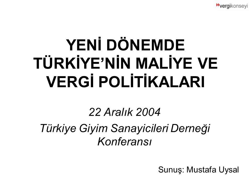 YENİ DÖNEMDE TÜRKİYE'NİN MALİYE VE VERGİ POLİTİKALARI 22 Aralık 2004 Türkiye Giyim Sanayicileri Derneği Konferansı Sunuş: Mustafa Uysal