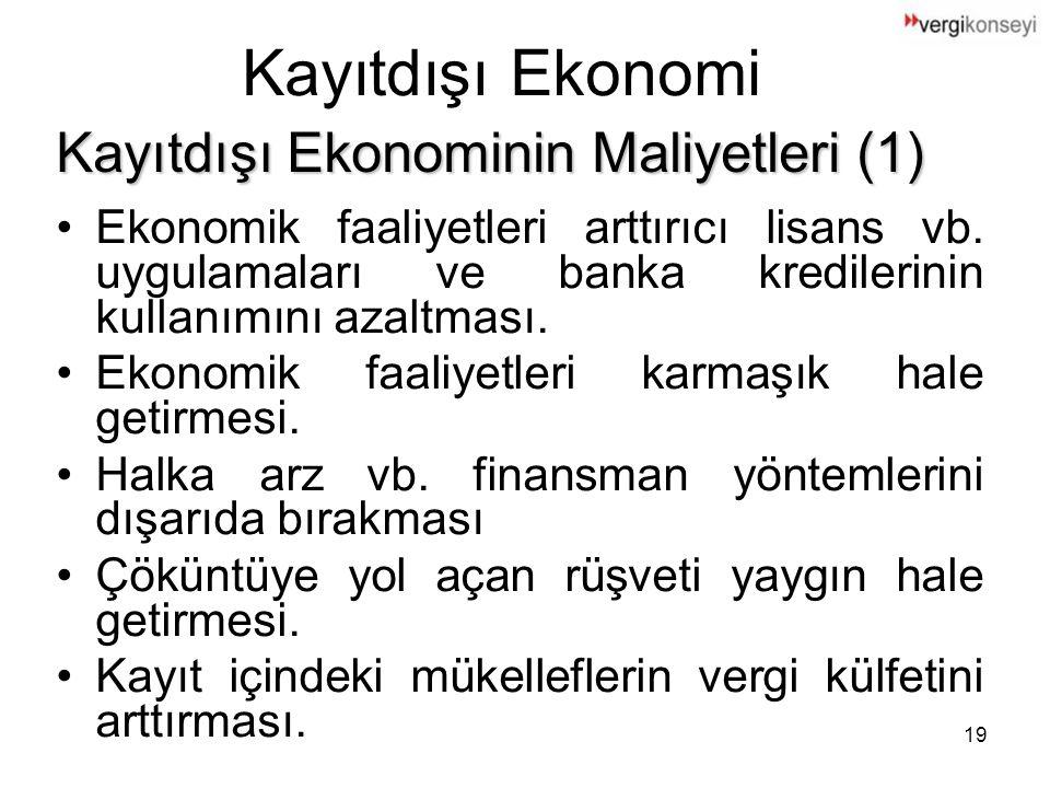 19 Kayıtdışı Ekonomi Ekonomik faaliyetleri arttırıcı lisans vb.