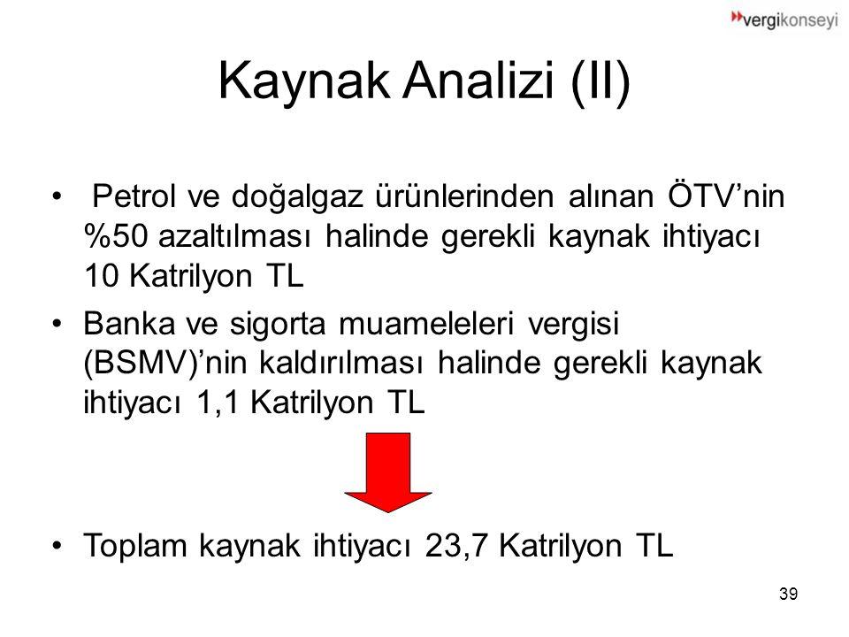 39 Kaynak Analizi (II) Petrol ve doğalgaz ürünlerinden alınan ÖTV'nin %50 azaltılması halinde gerekli kaynak ihtiyacı 10 Katrilyon TL Banka ve sigorta muameleleri vergisi (BSMV)'nin kaldırılması halinde gerekli kaynak ihtiyacı 1,1 Katrilyon TL Toplam kaynak ihtiyacı 23,7 Katrilyon TL