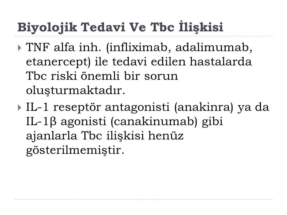 Biyolojik Tedavi Ve Tbc İlişkisi  TNF alfa inh. (infliximab, adalimumab, etanercept) ile tedavi edilen hastalarda Tbc riski önemli bir sorun oluşturm