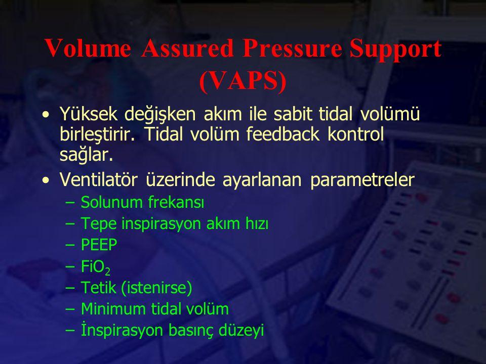 Volume Assured Pressure Support (VAPS) Yüksek değişken akım ile sabit tidal volümü birleştirir. Tidal volüm feedback kontrol sağlar. Ventilatör üzerin