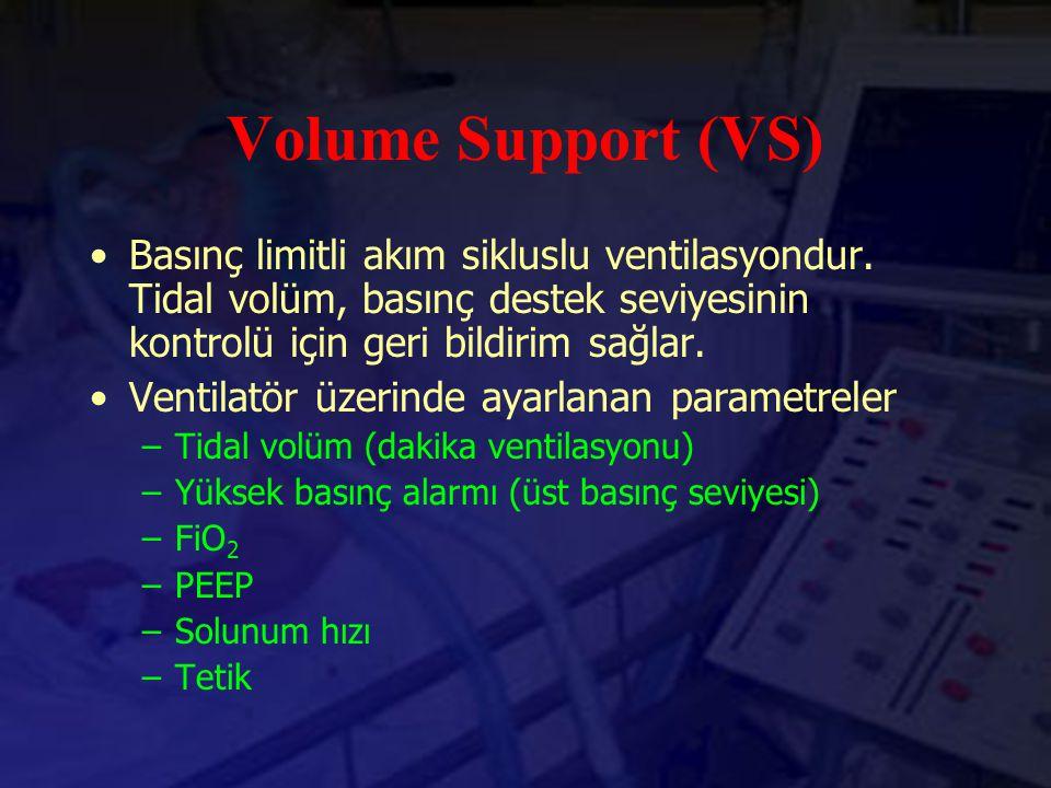 Volume Support (VS) Basınç limitli akım sikluslu ventilasyondur. Tidal volüm, basınç destek seviyesinin kontrolü için geri bildirim sağlar. Ventilatör