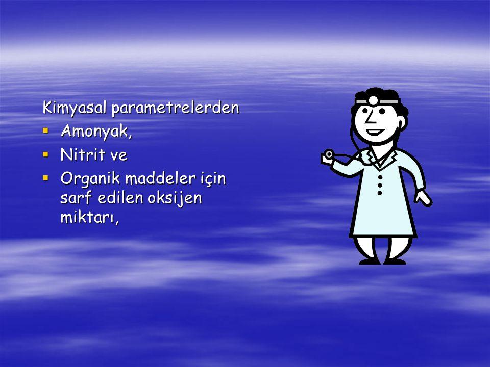 Kimyasal parametrelerden  Amonyak,  Nitrit ve  Organik maddeler için sarf edilen oksijen miktarı,
