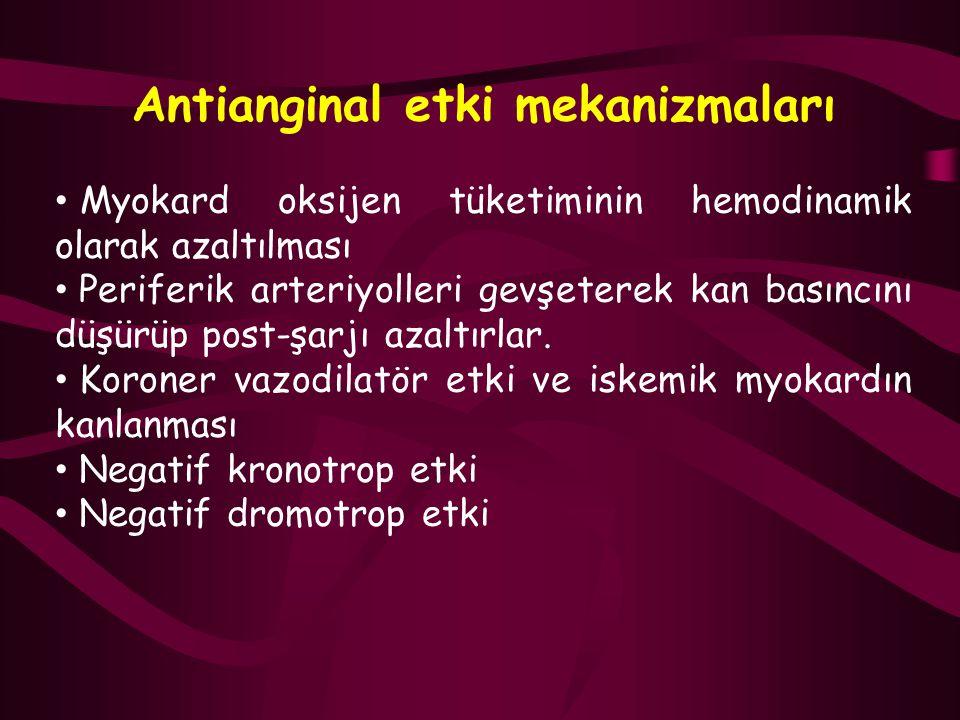 Antianginal etki mekanizmaları Myokard oksijen tüketiminin hemodinamik olarak azaltılması Periferik arteriyolleri gevşeterek kan basıncını düşürüp pos