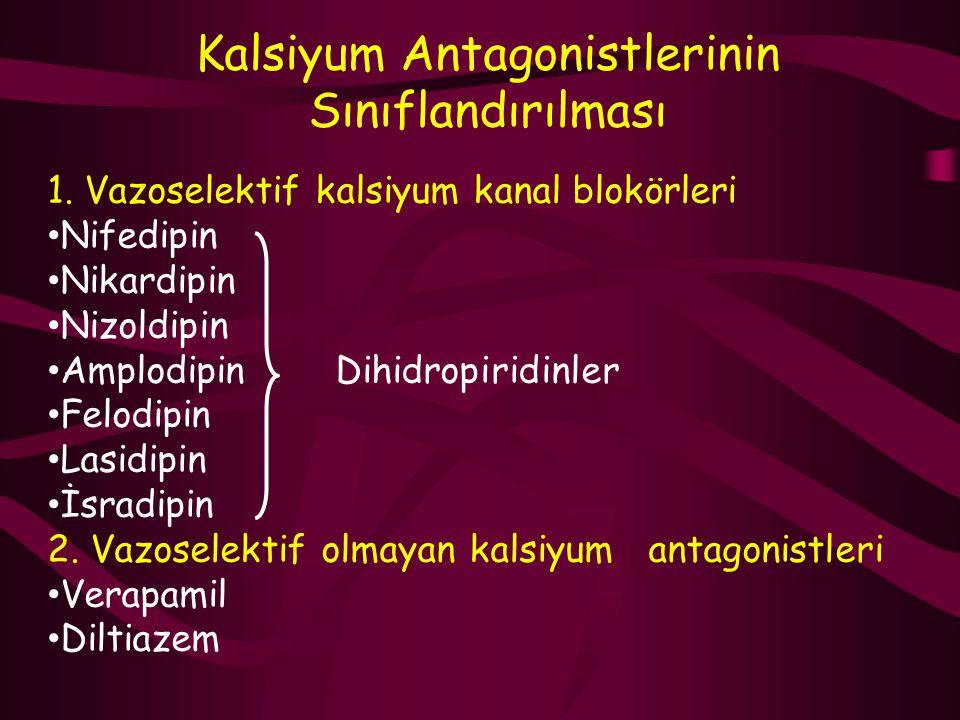 Kalsiyum Antagonistlerinin Sınıflandırılması 1. Vazoselektif kalsiyum kanal blokörleri Nifedipin Nikardipin Nizoldipin Amplodipin Dihidropiridinler Fe