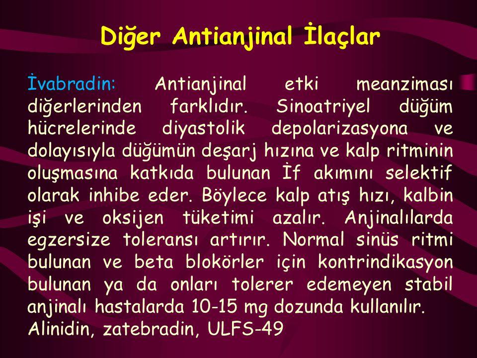 Diğer Antianjinal İlaçlar İvabradin: Antianjinal etki meanziması diğerlerinden farklıdır. Sinoatriyel düğüm hücrelerinde diyastolik depolarizasyona ve