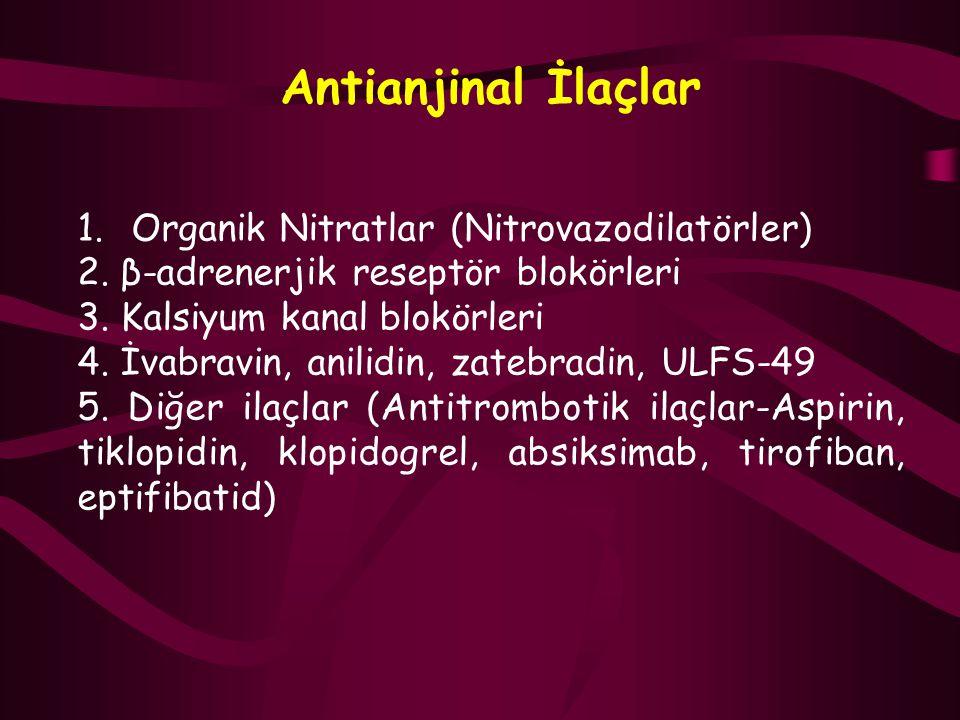 Antianjinal İlaçlar 1.Organik Nitratlar (Nitrovazodilatörler) 2. β-adrenerjik reseptör blokörleri 3. Kalsiyum kanal blokörleri 4. İvabravin, anilidin,