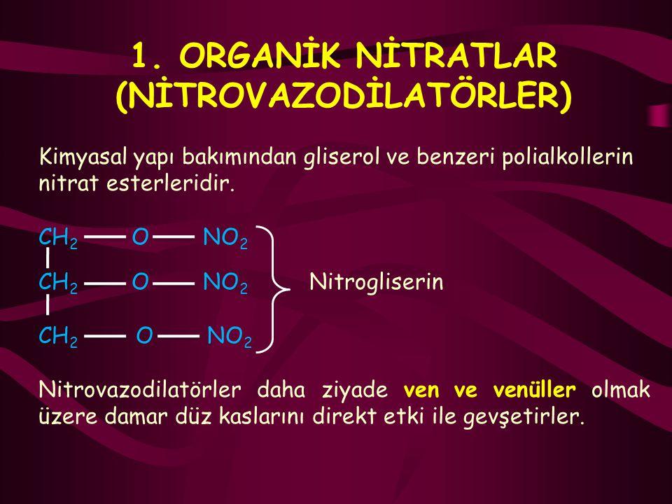 1. ORGANİK NİTRATLAR (NİTROVAZODİLATÖRLER) Kimyasal yapı bakımından gliserol ve benzeri polialkollerin nitrat esterleridir. CH 2 O NO 2 CH 2 O NO 2 Ni