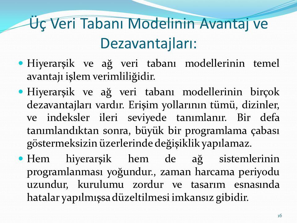 Üç Veri Tabanı Modelinin Avantaj ve Dezavantajları: Hiyerarşik ve ağ veri tabanı modellerinin temel avantajı işlem verimliliğidir.