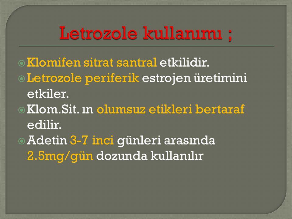 Klomifen sitrat santral etkilidir. Letrozole periferik estrojen üretimini etkiler.