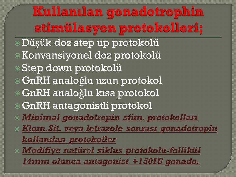 Dü ş ük doz step up protokolü  Konvansiyonel doz protokolü  Step down protokolü  GnRH analo ğ lu uzun protokol  GnRH analo ğ lu kısa protokol  GnRH antagonistli protokol  Minimal gonadotropin stim.